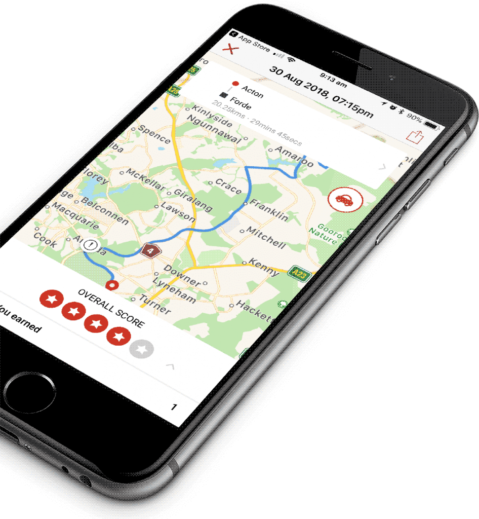 UbiCar mobile telematics app map score