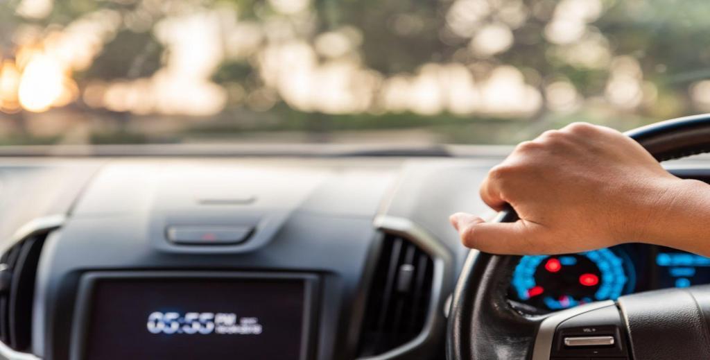 focused driver behind the wheel