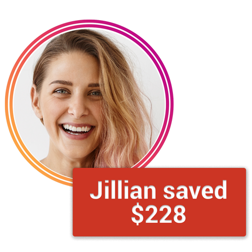 Jillian with savings amount