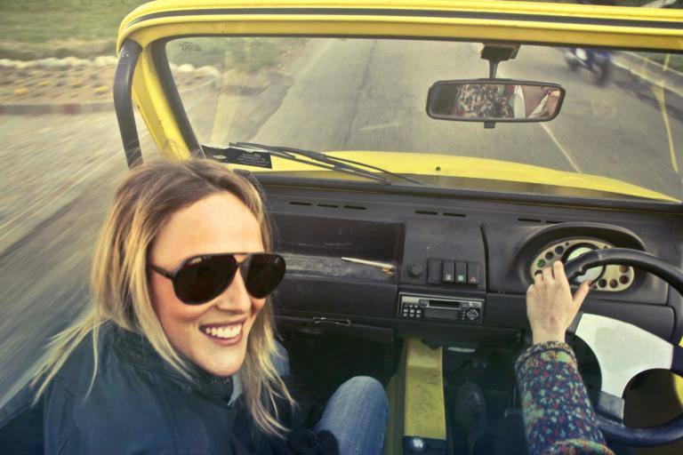 young woman passenger car